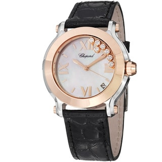 Chopard Women's 278492-9004 LBK 'Happy Sport Round' Mother Of Pearl Dial Watch