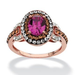 Oval-Cut Fuschia Crystal Halo Ring MADE WITH SWAROVSKI ELEMENTS in Rose Gold over Sterling
