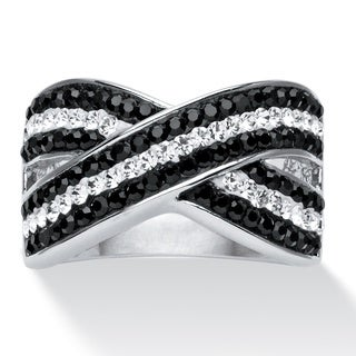 PalmBeach Pave Jet Black and Crystal Crossover Ring Made with SWAROVSKI ELEMENTS in Platinum-Plated Color Fun