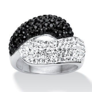 PalmBeach Pave Jet Black and White Crystal Twist Ring Made with SWAROVSKI ELEMENTS in Platinum-Plated Color Fun