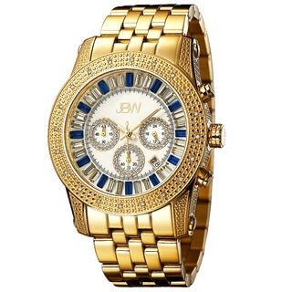 JBW Men's 'Krypton' Gold-plated Blue Crystal Diamond Watch