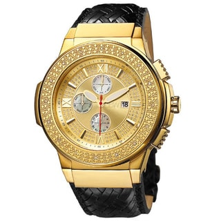 JBW Men's 'Saxon' Gold-plated Braided Leather Diamond Watch