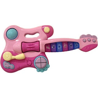 Toy Electric Guitar with Interactive Buttons, Levers, Noises, Sound, and Lights by Dimple