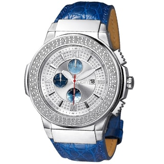 JBW Men's 'Saxon' Stainless Steel/ Blue Leather Diamond Watch