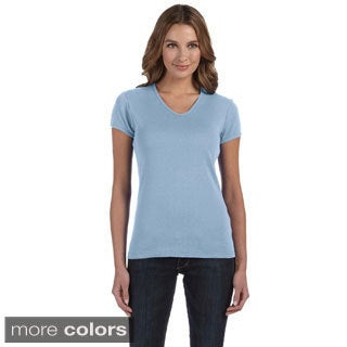 Women's Baby Rib Short Sleeve V-neck T-shirt