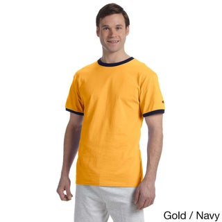 Champion Men's Tagless Ringer T-shirt (Option: XL,C GOLD/NAVY)
