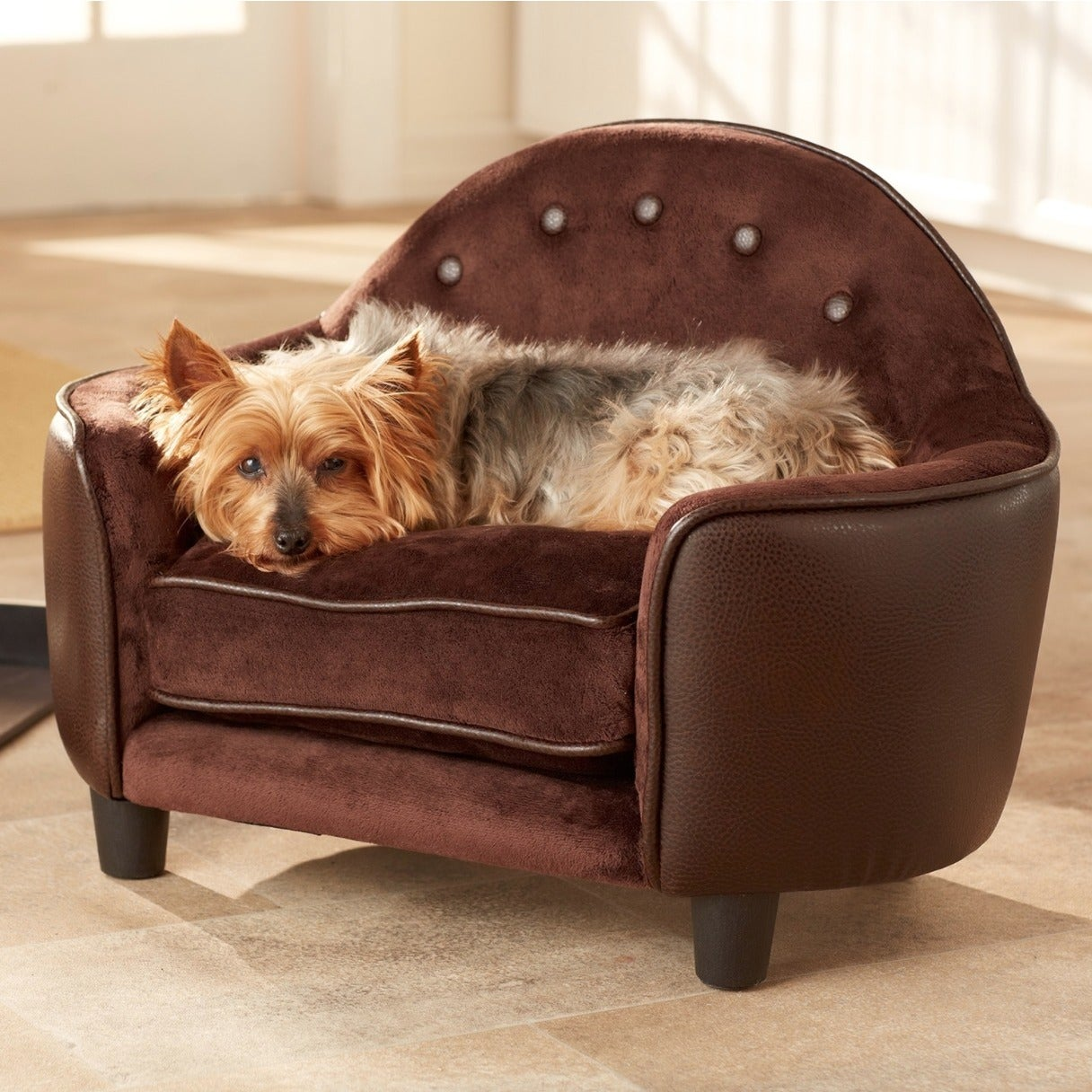 Enchanted Home Pet Ultra-plush Pet Couch Bed (Pebble Brown)