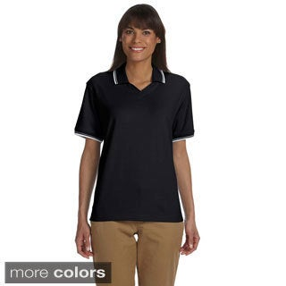 Devon & Jones Women's Tipped Perfect Pima Interlock Polo (Option: White)