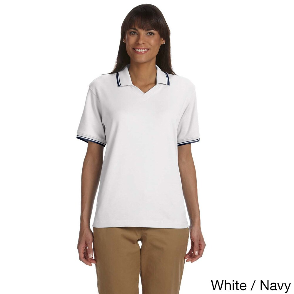 Devon & Jones Women's Tipped Perfect Pima Interlock Polo ...