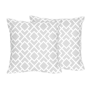 Sweet Jojo Designs Gray and White Diamond Collection Throw Pillows (Set of 2)