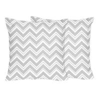 Sweet Jojo Designs Gray and White Zig Zag Collections Throw Pillows (Set of 2)