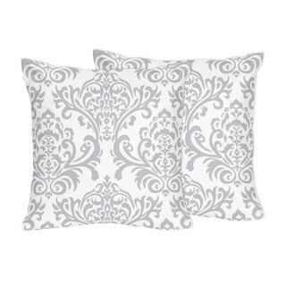Decorative Accent Throw Pillows for Sweet Jojo Designs Gray and White Damask Bedding Collections - Set of 2