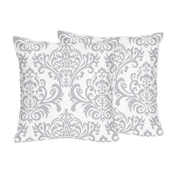 shop decorative accent throw pillows for sweet jojo designs gray and white damask bedding. Black Bedroom Furniture Sets. Home Design Ideas