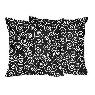 Sweet Jojo Designs Black and White Swirl Throw Pillows - (Set of 2)