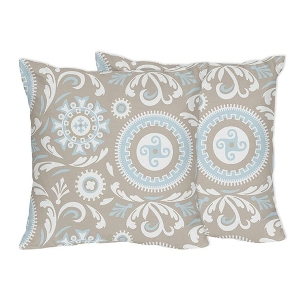 Sweet Jojo Designs Blue And Taupe Hayden Collection Throw Pillows Set Of 2