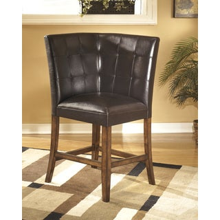 Signature Design by Ashley 'Lacey' Medium Brown Upholstered Corner Bar Stool