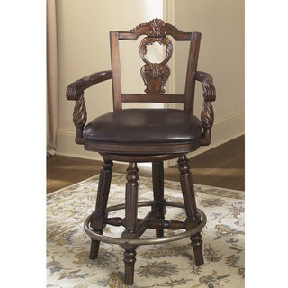 Signature Design by Ashley 27-inch North Shore' Dark Brown Upholstered Swivel Barstool