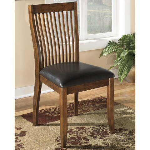 Signature Design by Ashley Stuman Brown/Black Wood/Faux Leather Modern Dining Chairs (Set of 2)