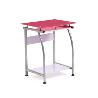 Glass Top Laptop Desk with Pull-out Keyboard (Option: Pink - Pink Finish)