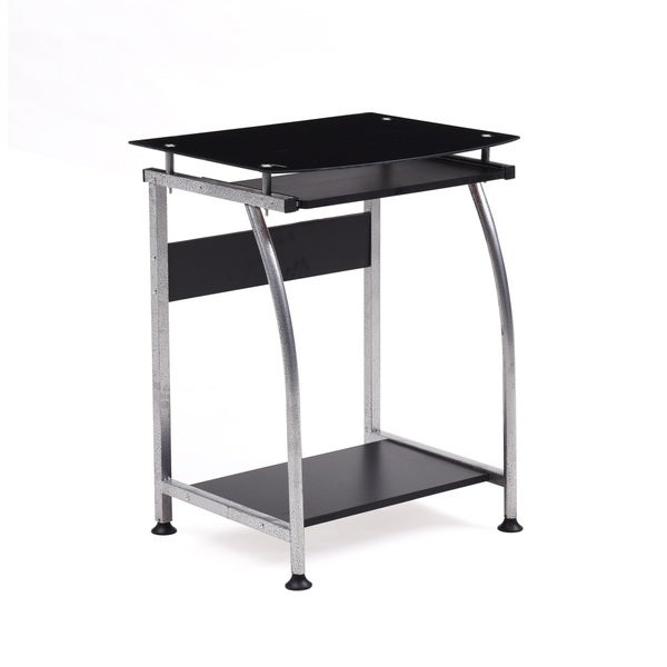 Glass Top Laptop Desk with Pull-out Keyboard - Free Shipping Today