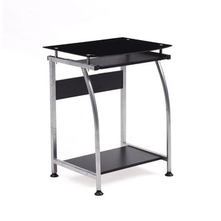 Glass Top Laptop Desk with Pull-out Keyboard