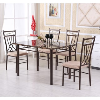 Marble-look Bronze 5-piece Dining Set