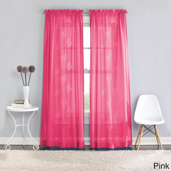 Butterfly Lazer Sheer Curtain Panel Pair - 50 x 84