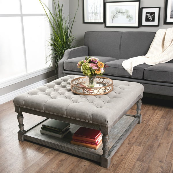 Elements Rubbed Medium Brown Wood Ottoman ~ Creston beige linen tufted ottoman free shipping today