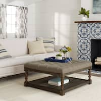 The Gray Barn Creston Beige Linen Tufted Ottoman