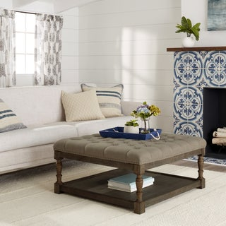 Marvelous Creston Beige Linen Tufted Ottoman