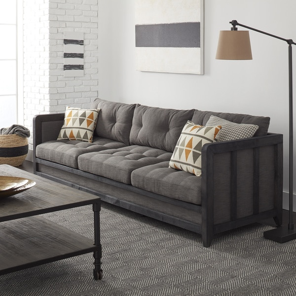 Creston 94 Inch Smoke Linen Sofa Free Shipping Today