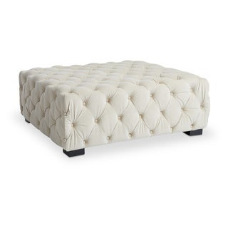 Maison Rouge Juliette Creme Velvet Button-tufted Ottoman