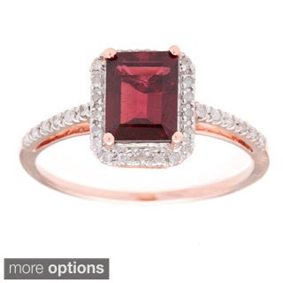 Viducci 10k Rose Gold Gemstone and Diamond Ring (1/5 TDW)