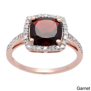 Viducci 10k Rose Gold Gemstone and Diamond Ring (1/5 TDW)