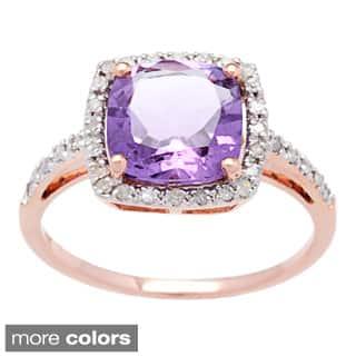 Viducci 10k Rose Gold Gemstone and Diamond Ring (1/5 TDW)|https://ak1.ostkcdn.com/images/products/9041826/Viducci-10k-Rose-Gold-Gemstone-and-Diamond-Ring-1-5-TDW-P16239793A.jpg?impolicy=medium