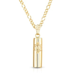 14k Yellow Gold Mezuzah Pendant Necklace