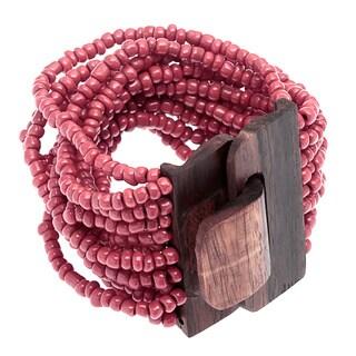 Red Glass Bead Stretch Bracelet