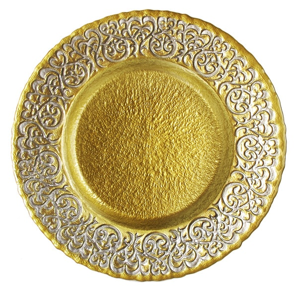 Baroque 13-inch Two-tone Charger Plate  sc 1 st  Overstock.com & Baroque 13-inch Two-tone Charger Plate - Free Shipping On Orders ...
