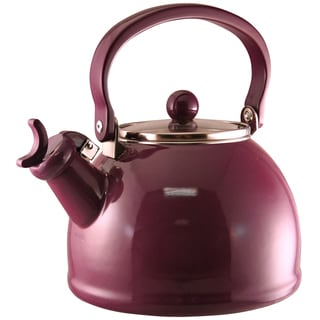 Reston Lloyd Calypso Basics Plum 2.2-quart Enameled Steel Whistling Teakettle
