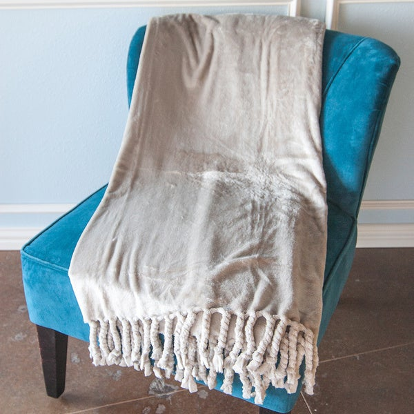 Grand Bazaar Carlisle Microplush Throw Blanket with Chunky Twisted Fringe
