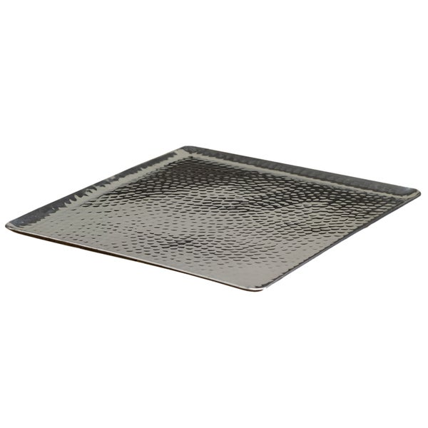 Hammered Coffee Table Tray: 15-inch Square Hammered Aluminum Tray