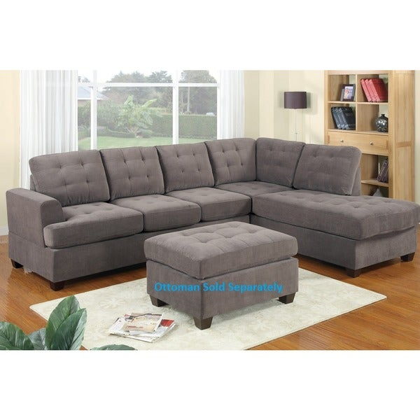 Shop Odessa Waffle Suede Reversible Sectional Sofa Free