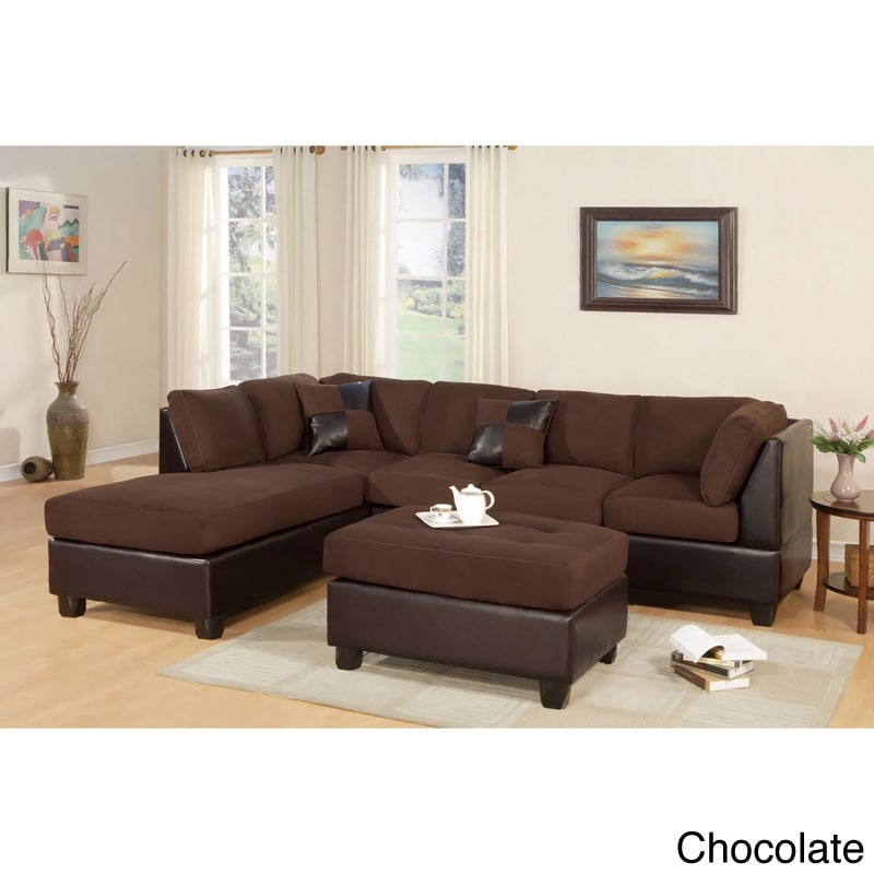 Poundex Montpellier Dual-tone Sectional Sofa Set with Mat...