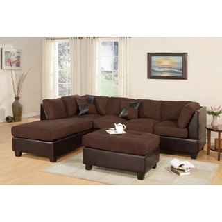 Montpellier Dual-tone Sectional Sofa Set with Matching Ottoman  sc 1 st  Overstock.com : brown suede sectional couch - Sectionals, Sofas & Couches