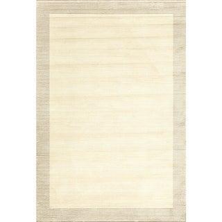 Grand Bazaar Power Loomed Wool & Viscose Nahele Rug in Cream/Gray 5' x 8'