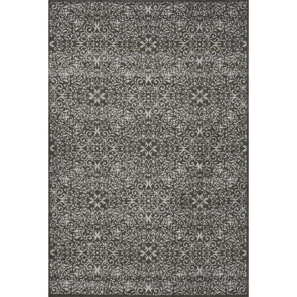 Grand Bazaar Power Loomed Wool & Viscose Settat Rug in Dark Gray / Silver - 5' x 8'