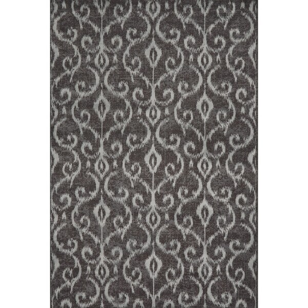 Grand Bazaar Wool & Viscose Settat Area Rug in Dark Gray/ Silver (5' x 8')