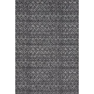 Grand Bazaar Power Loomed Wool & Viscose Guilia Rug in Black / Dark Gray 5' x 8'