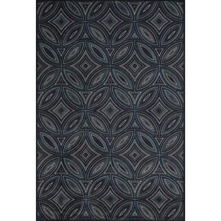 Grand Bazaar Wool & Viscose Settat Area Rug in Black/ Multi (5' x 8')