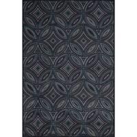 Grand Bazaar Power Loomed Wool & Viscose Settat Rug in Black/Multi - 5' x 8'